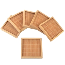 12X Natural Bamboo Teacup Square Saucer Tea Cup Hand Tray Craft Pad Mat 100X100Mm Gongfu Kung Fu Serving Table