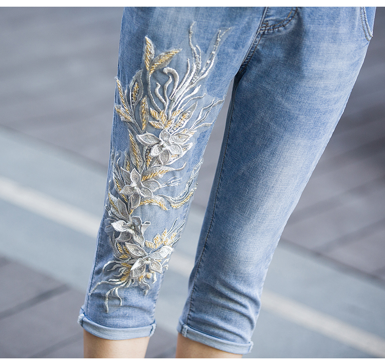 KSTUN Women's Jeans Summer Skinny Elastic Waist Drawstring Calf-length Pants 3D Embroidered Flower Lace Up Sexy Ladies Push Up 16