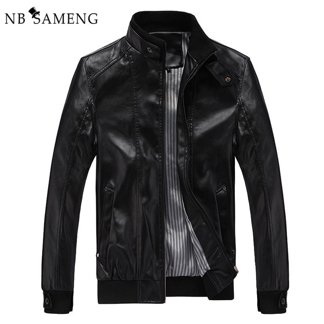 2017 New Fashion Male Leather Jacket Plus Size XXXL 4XL 5XL Black Brown Mens Mandarin Collar PU Coats 13M0691
