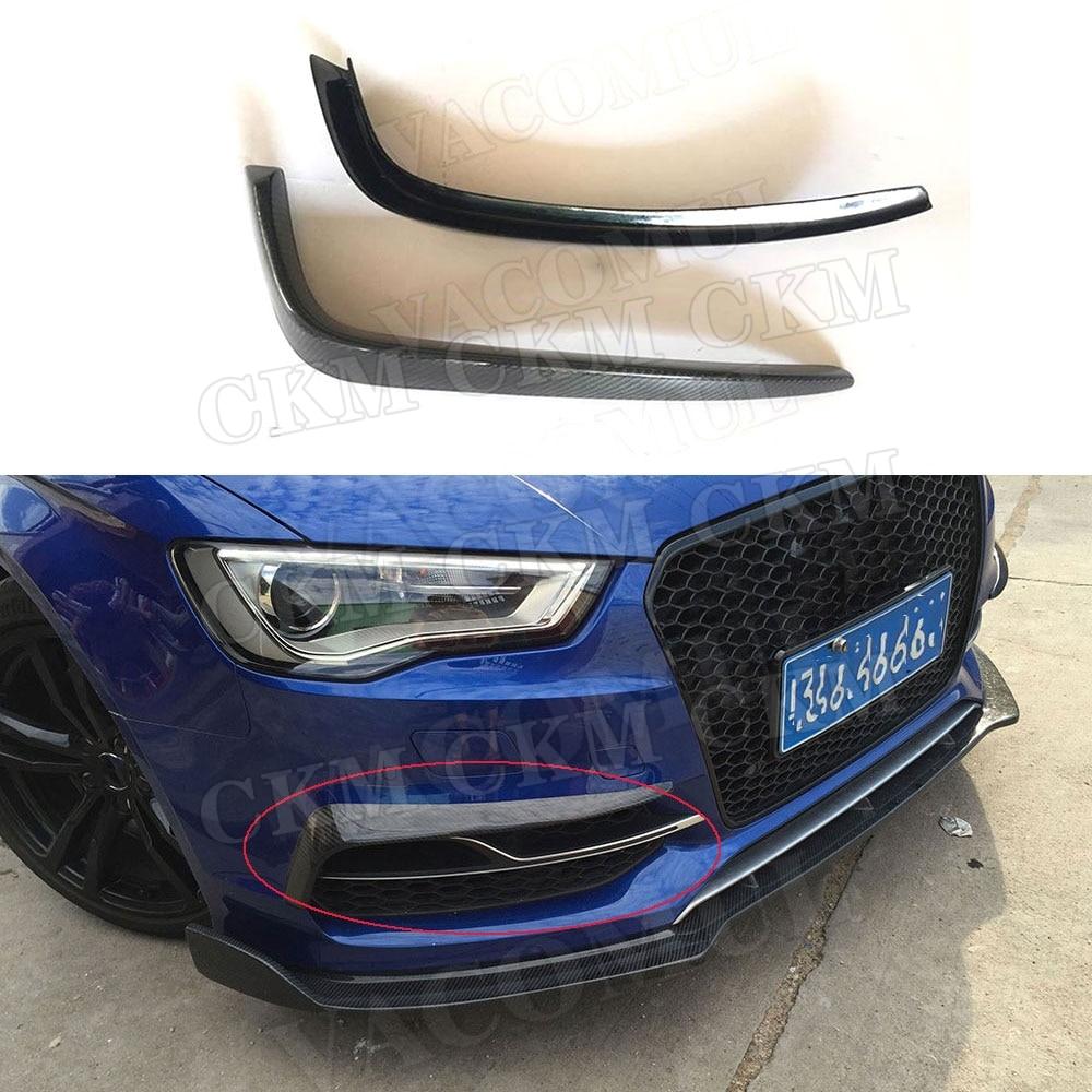 Otomobiller ve Motosikletler'ten Tamponlar'de Karbon Fiber ön sis işık göz kapakları sis lambası kaş kapak trimler Audi A3 S3 Sedan 2013 2016 değil Hatchback veya Sportback