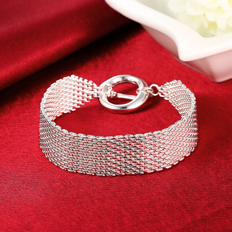 Wholesale and Casual Biker Bracelet Argent Femme Homme Mesh TO Clasp Women Men Silver Bracelet For Party Christmas Jewelry Gift bracelet