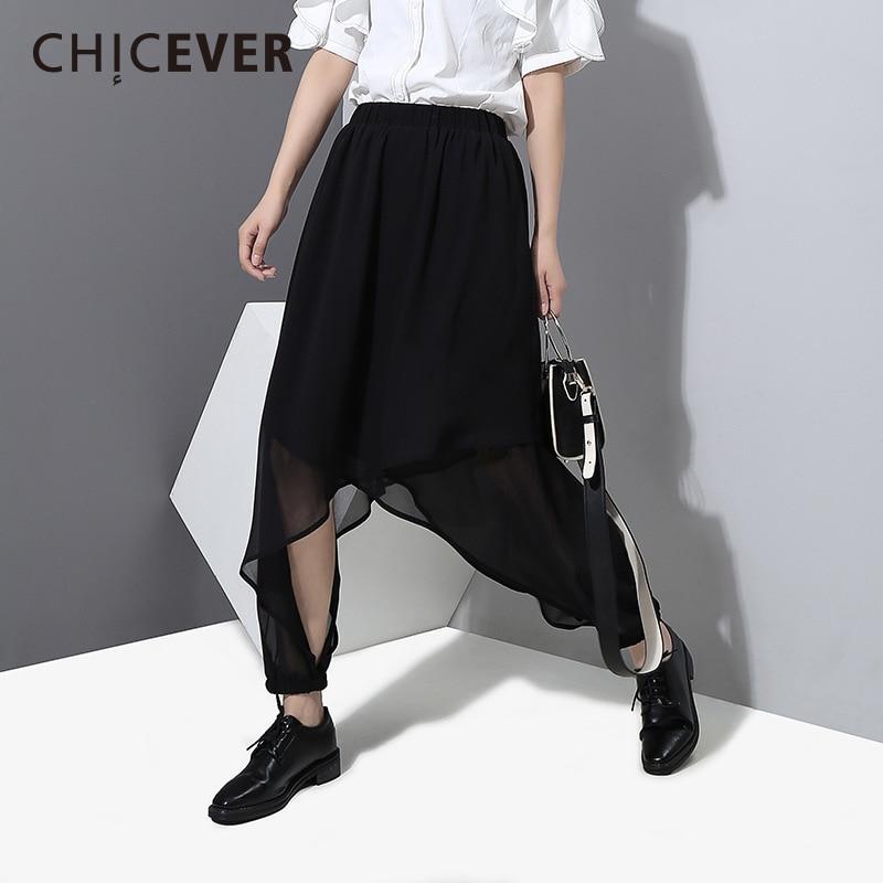 CHICEVER 2018 Spring Summer irregular Trousers For Women Cross Pants Elastic High Waist Chiffon Split Womens Female Pants New