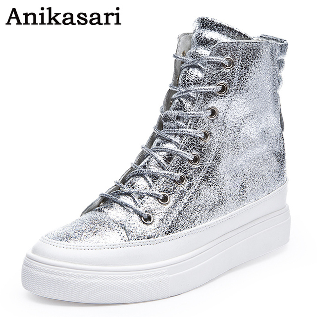 bdf0a3e41d3b7 Women Leather Casual Shoes Woman High Top Wedges Shoes Height Increasing  Platform Boots Ladies Black Gold High Heels Trainers