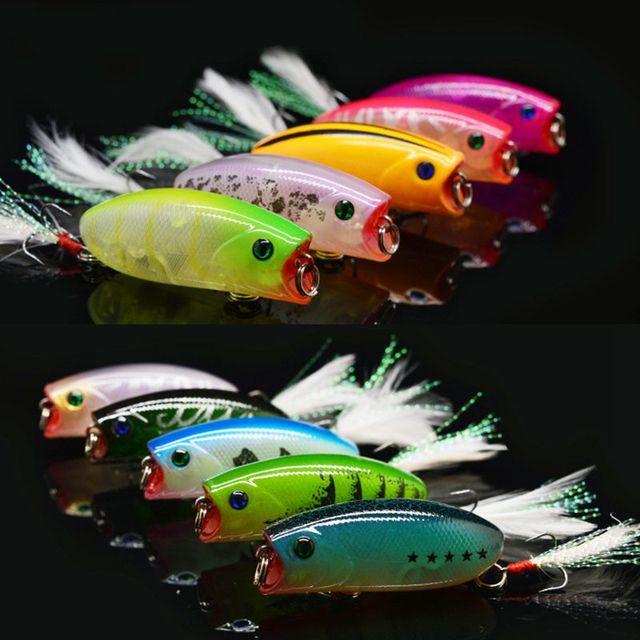 2015 New 10 Pcs Fishing lure set Popper Hard bait Isca Artificial Pesca Sirajiong Fishing Tackle Hook 55mm 10g Free shipping
