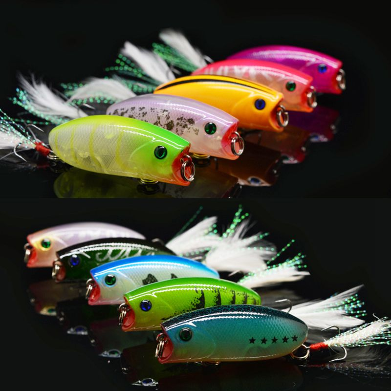 2015 New 10Pcs Fishing Lure set Popper Hard bait Isca Artificial Pesca Sirajiong Fishing Tackle Hook 55mm 10g უფასო გადაზიდვა