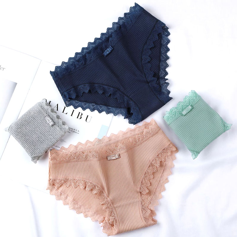 Sexy Lace   Panties   Women's Cotton Ultra Soft Briefs Bikini Seamless Cute Bow Girls Briefs Soft Comfort Lingerie Fashion Women
