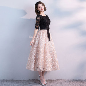 Image 3 - FADISTEE חדש הגעה אלגנטית ערב מסיבת שמלות נשף תה אורך שמלת אונליין סאטן תחרה חלוק דה Soiree חצי תחרה שרוולים