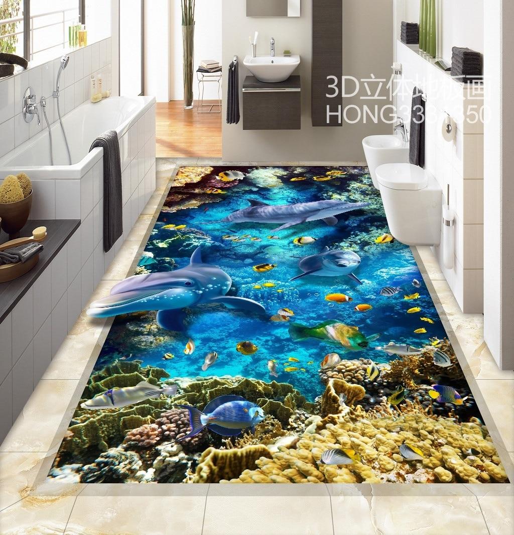 US $29.7  3D Pvc bodenbelag Benutzerdefinierte Wandaufkleber  Dreidimensionale Delphin Meer Welt 3D Bad Bodenbelag Malerei Foto Wallpaper  für Wände-in ...