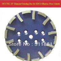 10'' NCCTEC Blastrac Blue Diamond Grind Disc for EDCO Blastrac grinder | 250mm fine grade plate for soft floor | 20 segments