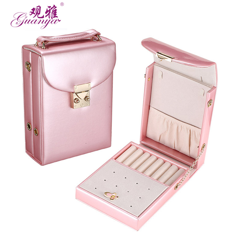 guanya high quality Portable Creative Solid color PU leather Jewelry Portable storage jewelry box organizers