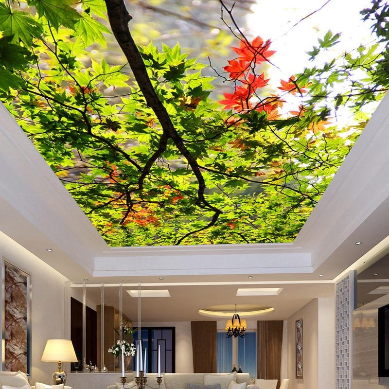 Buy custom any size green tree maple leaf for Ceiling mural wallpaper