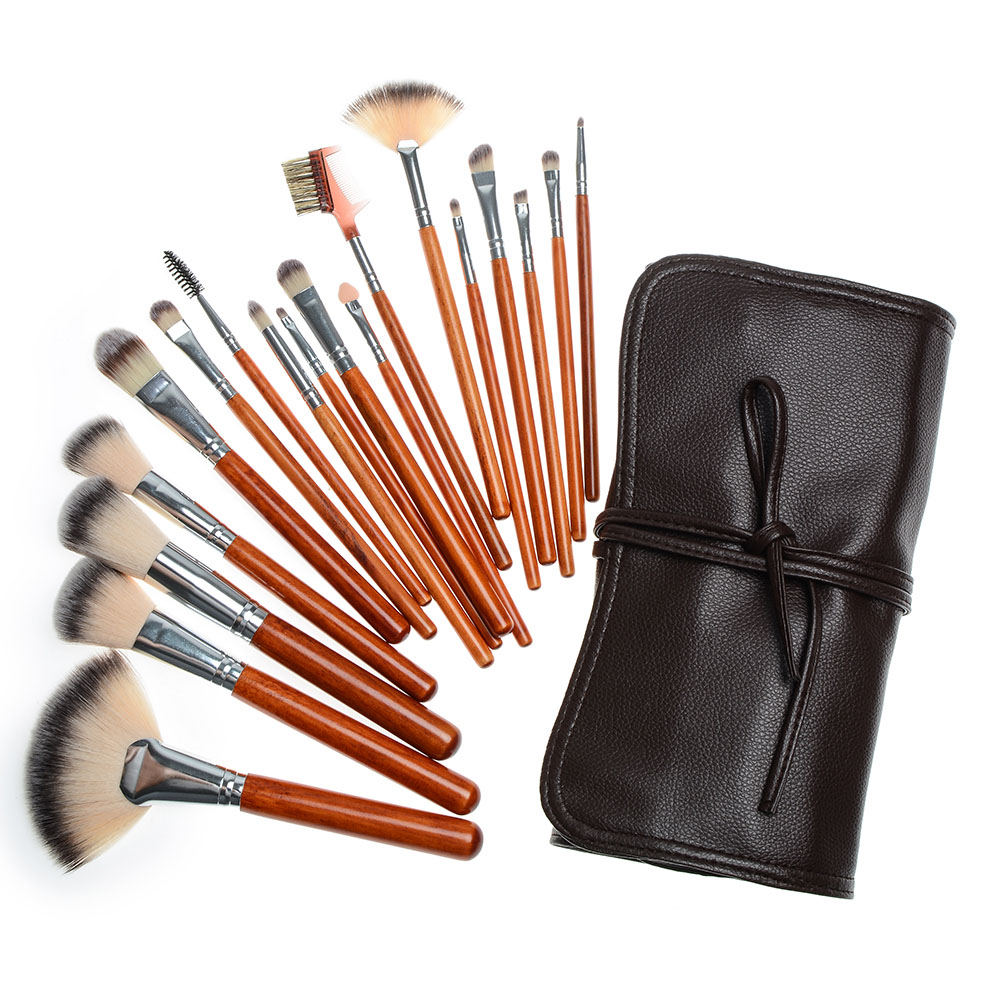 Professional 18pcs Makeup Brushes Set Beauty Powder Blending Face Kabuki Brush pincel maquiagem Cosmetic Tools with Leather Case 12pcs face blending brush makeup brushes set cosmetic make up tools with holder maquillage kit professional pincel de base bl333