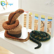 Babiqu 1pc 130cm Simulation Cobra and Python Snake Plush Toy Soft Stuffed Zodiac Dolls Funny Gift for Children Kids Party Toys(China)