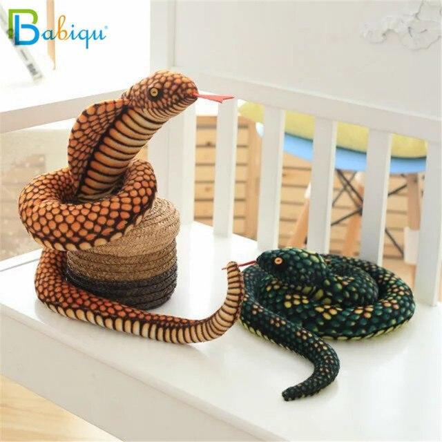 Bebé 1 pc 130 cm simulación Cobra y serpiente de pitón juguete de felpa suave muñecas del Zodíaco de peluche divertido regalo para niños fiesta de los niños Juguetes