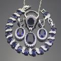 925 Sterling Silver Azul Criado Sapphire Branco Topázio Conjuntos de Jóias Para As Mulheres Brincos/Pingente/Colar/Anéis/pulseiras Caixa Livre