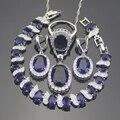 925 Sterling Silver Blue Creado Zafiro Topacio Blanco Sistemas de La Joyería Para Las Mujeres Pendientes/Colgante/Collar/Anillos/pulseras Caja Libre