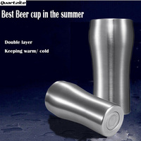 New Arrival Ice cold beer mug 420ml double wall stainless steel keep hot and cold tea cups coffee mug cold drinks cooler cup