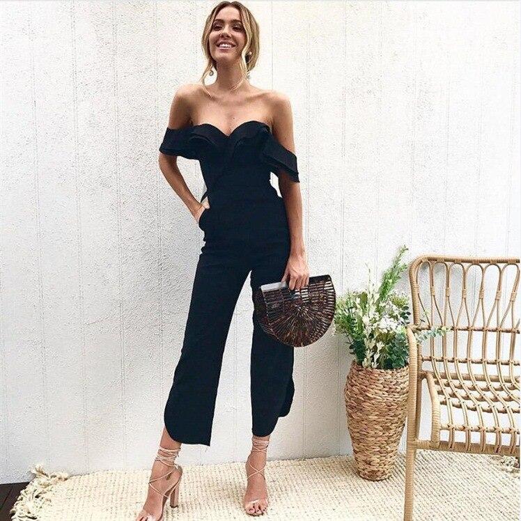 2019 Spring Summe Woman Jumpsuit Sexy Strapless Woman Bodysuit Short Sleeve V-neck Combinaison Femme Salopette Femme