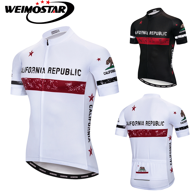 2018 Pro Team Weimostar Cycling Jersey CALIFORNIA REPUBLIC ropa ciclismo Maillot ciclismo MTB Downhill Jersey White/Black