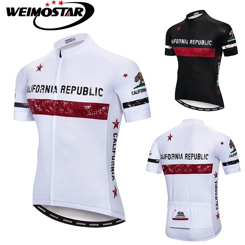 Pro Team Weimostar Ciclismo Jersey CALIFÓRNIA REPÚBLICA ropa ciclismo maillot ciclismo MTB Downhill Jersey Branco/Preto