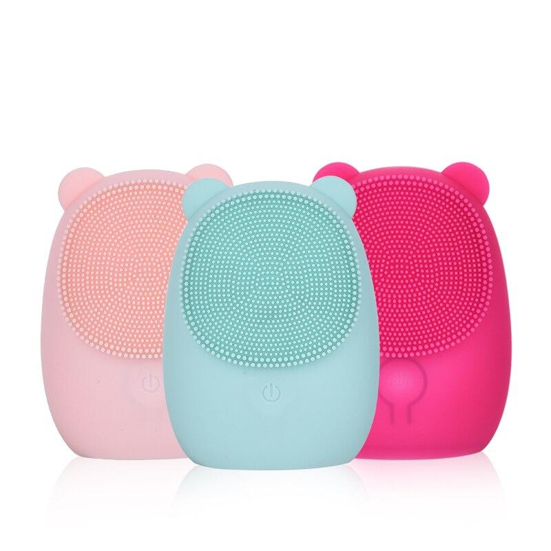 Facial De Limpeza Escova De Silicone Escova Facial Elétrica Rosto Escova de Limpeza Profunda para Resíduos de Maquiagem e Limpeza de Pele de Urso para a Lavagem