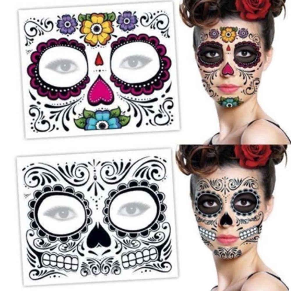 Makeup Wajah Stiker Khusus Tahan Air Tato Wajah Hari Mati Tengkorak Wajah Berdandan Halloween Tato Sementara Stiker