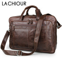 LACHIOUR Genuine Leather Men Bag Vintage Totes Handbags Brand Fashion Male Messenger Bags Briefcase Men's Travel Shoulder Bags