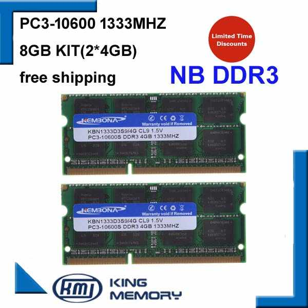 KEMBONA ラップトップ ddr3 1333 mhz 8 ギガバイト (キットの 2 × 4 ギガバイト) DDR3 PC3-10600s 1.5 ので-DIMM 204 ピンメモリモジュール Ram ノートパソコン用のメモリア