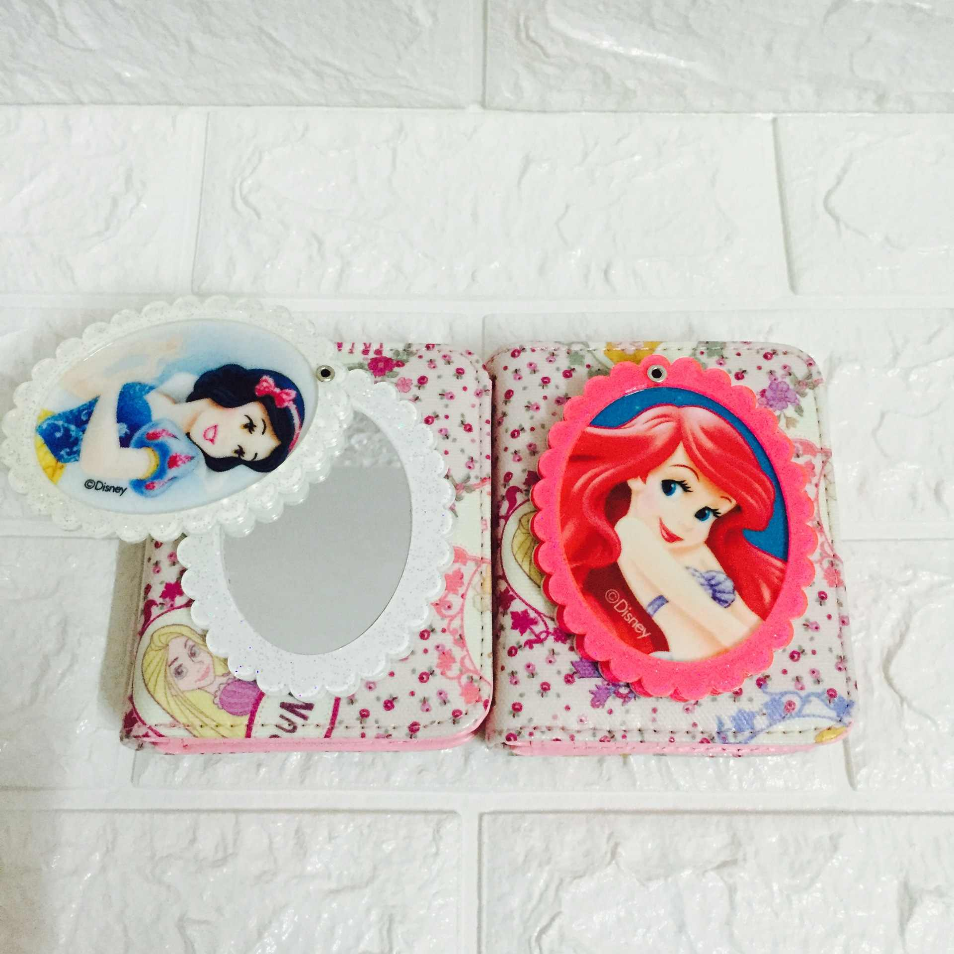 Disney prinzessin dame brieftasche mit spiegel muster nette mädchen cartoon geldbörse münze Gefrorene frauen karte halter fall geschenk Kupplung handtasche