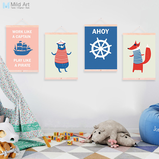 Kawaii Sailor Animals Bear Fox A4 Wooden Framed Poster Nordic Kids Room Wall Art Print Picture Home Decor Canvas Painting Scroll