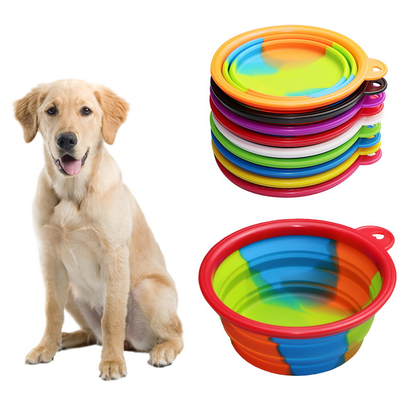 Folding Dog Bowl Outfit Portable Travel Bowl Dog Feeder Water Food Container Silicone Small Mudium Dog Pet Tools