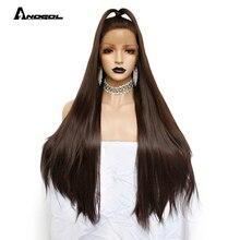 Anogol Yüksek Sıcaklık Fiber Brezilyalı Saç Peruca Tam Uzun Düz Koyu Kahverengi Sentetik Dantel ön peruk Kadınlar Için Kostüm