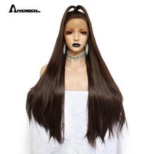 Anogol 고온 섬유 브라질 헤어 peruca 전체 긴 스트레이트 다크 브라운 합성 레이스 프론트 가발 여성 의상