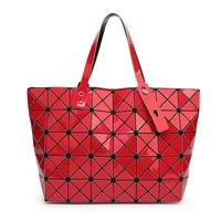 Diamond Lattice Women Luminous Sac Bag Diamond Tote Geometry Quilted Shoulder Bags Laser Plain Folding Handbags