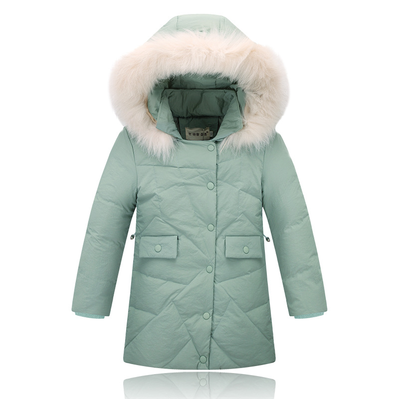 Winter Girls White Duck Down Jackets and Coats Kids Fur Hooded Long Parka Children's Fashion Warm Outerwear Jacket 2016 New russia winter boys girls down jacket boy girl warm thick duck down