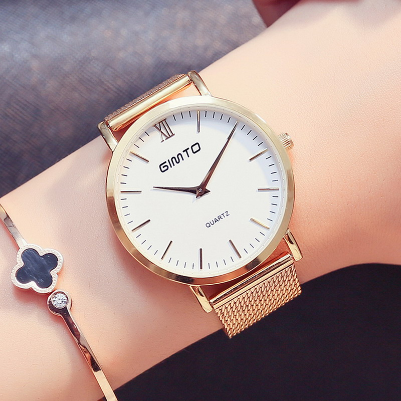 2017 Luxury Brand Women Watch Dress Quartz Watch Steel Gold Bracelet Watch Antique Rome Female Clock