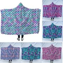 Mermaid Hooded Blanket For Home Travel Picnic Portable Sherpa Fleece Sofa Wearable Warm Throw Adults