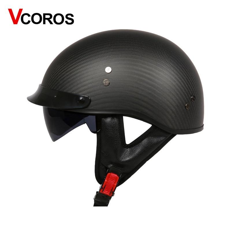 Carbon fibe half face motorcycle helmet with inner sunlens Harley vintage motorbike helmet open face Locomotive moto helmet DOT