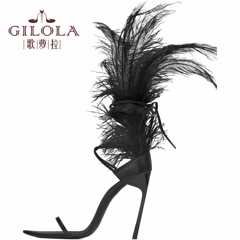 high heels gladiator feather women sandals spring summer sexy women shoes woman thin heels #Y0123647Q