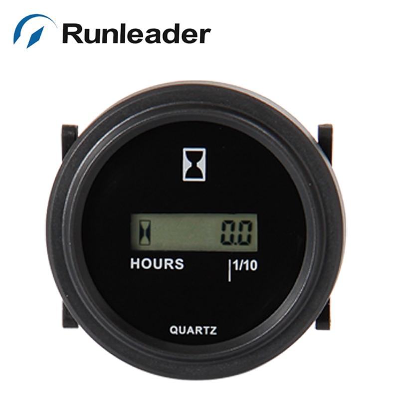 Runleader HM005 LCD Round Hour Meter DC 4.5-90V hour meter for truck boat diesel engine generator jet ski