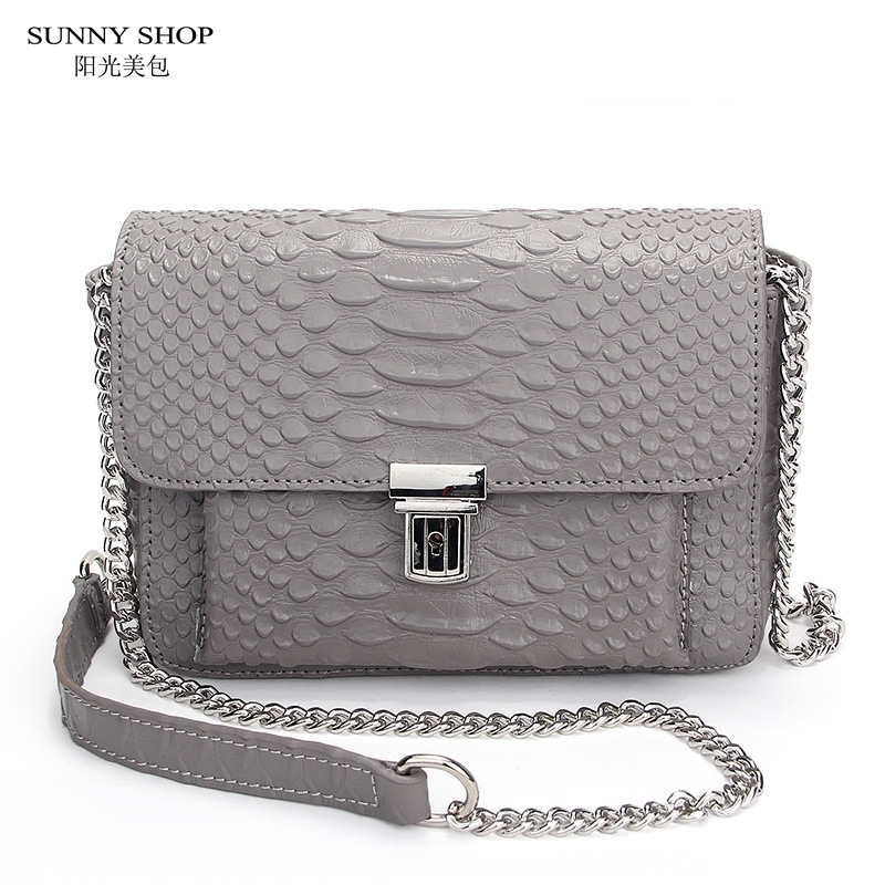 SUNNY SHOP American Brand Designer Luxury Mini Leather Bag Genuine Leather Crossbody Bag High Quality Serpentine