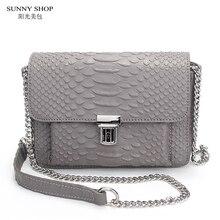 SUNNY SHOP American Marke Designer Luxus Mini Leder Tasche Aus Echtem Leder Umhängetasche Hohe Qualität Serpentinenmuster Leder