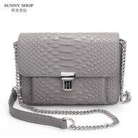 SUNNY WINKEL Amerikaanse Merk Designer Luxe Mini Lederen Bag Lederen Crossbody Tas Hoge Kwaliteit Serpentine Patroon Lederen
