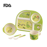 Kids Tableware 5 A Set Bowl Dish Spoon Fork Cup Dinnerware Set Baby Food Feeding Dishware Separate Fruit Containers Cute