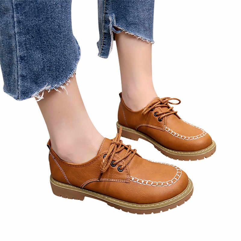 Flats Britse Stijl Oxford Schoenen Vrouwen Lente Zacht Leer Oxfords Platte Hak Casual Schoenen Lace Up Vrouwen Schoenen Retro Flats # 40A