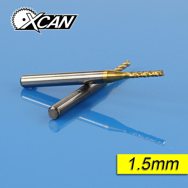 XCAN 10 Titanium Coat Carbide 1.5mm  Rotary Burrs Set corn milling cutter PCB router bitsEnd Mill Engraving Bits CNC