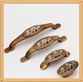 Single/64/96/128mm Vintage Cabinet Knob Kitchen Furniture pulls antique bedroom drawer handle with Rose Carving