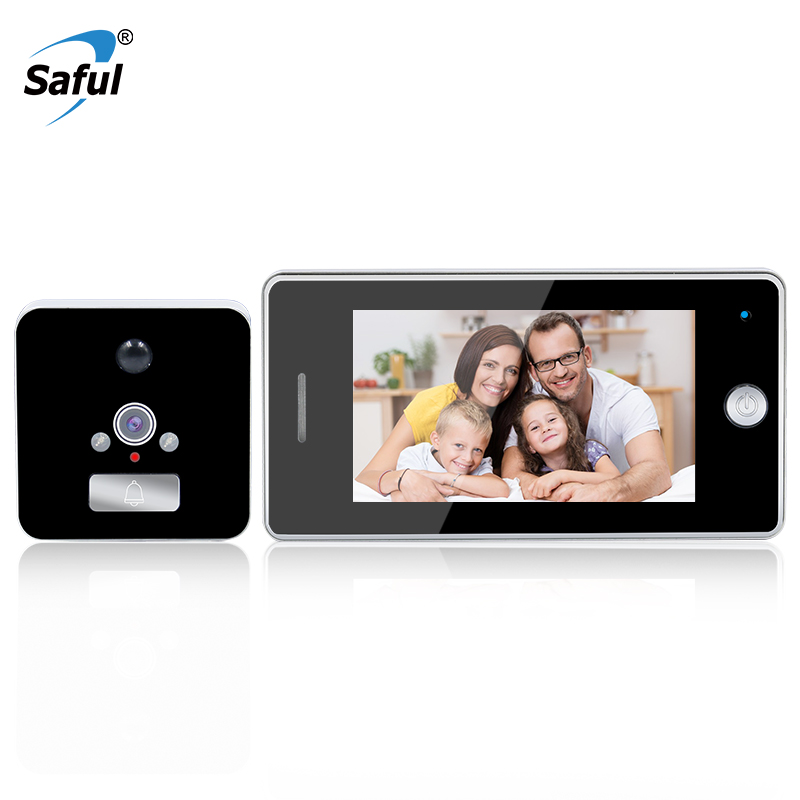 Saful 4.3 Inch LCD Screen Smart Door Peephole Viewer Wide Angle with Infrared Night Vision Recording Viewer Doorbell hot sale 2 4 inch doorbell peephole viewer lcd screen multifunction security camera 120 degree angle view