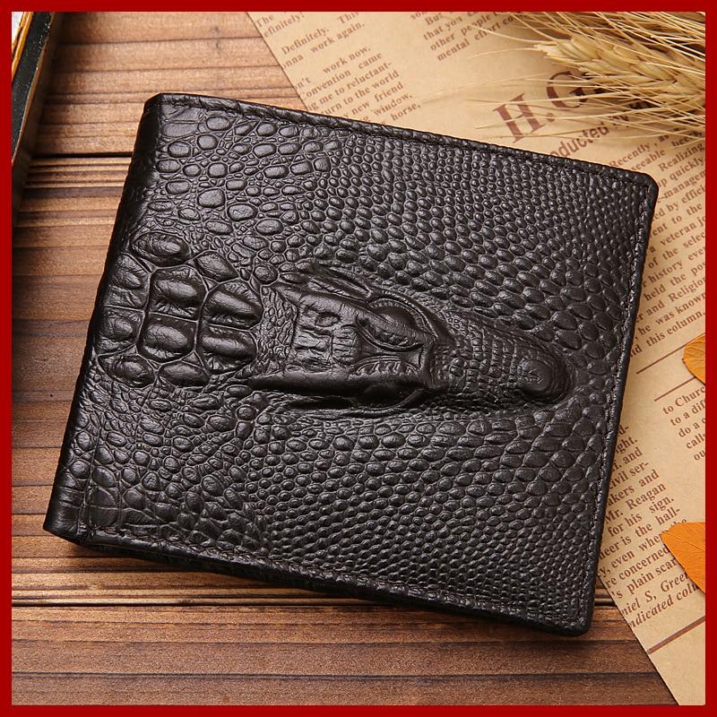 New Fashion 3D Crocodile Short Wallets Alligator Leather Male ...