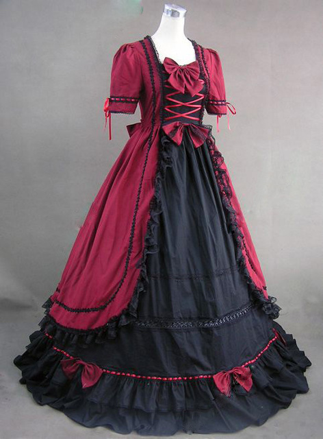 Red And Black Renaissance Gothic Ball Gown Prom Steampunk Dress Dresses